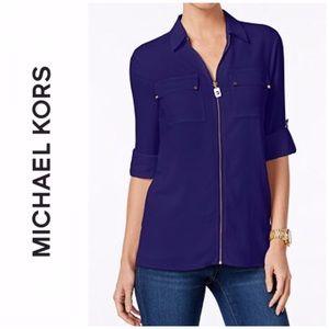 Michael Kors Zip-Front Utility Shirt